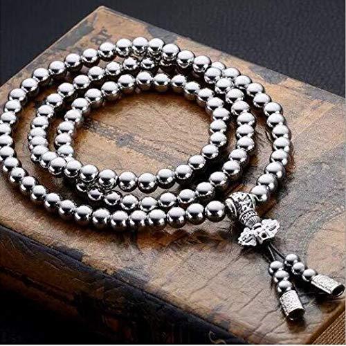 UIGJIOG Collar de Buda, Armas de autodefensa, Acero Inoxidable, Cuentas de oración budistas, 108 Cuentas de Buda, Collar de Acero de Titanio,B