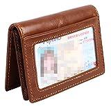 RFID Slim Wallet Men Thin Bifold Front Pocket Wallet Genuine Leather Card Holder (Brown)