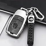ontto Funda para llave de coche Apto para Mercedes Clase A W177 E Clase S E200 E320 S65 AMG E43 E400 W213 carcasa para llave de coche de fibra de carbono de poliuretano termoplástico plateado