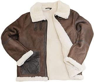Winter Sheepskin Pilot Jacket for Men in Brown