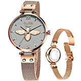 Rose Gold Womens Watches with Thin Dials,Ladies Watches with Stretch Band for Small Wrist Water Resistant Stainless Steel Mesh Watches Lady,OLEVS Watch Women Casual Luxury Classic Dress Wrist Watch