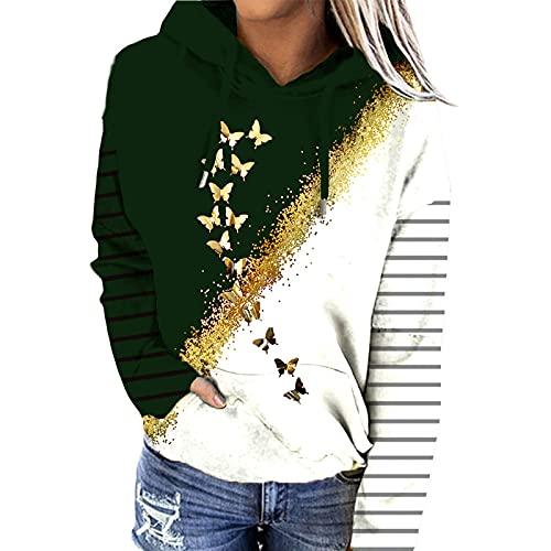 SLYZ Otoño Ropa De Mujer Europea Y Americana Impresa Suéter con Capucha Chaqueta Casual Más El Tamaño De La Parte Superior del Suéter De Las Mujeres
