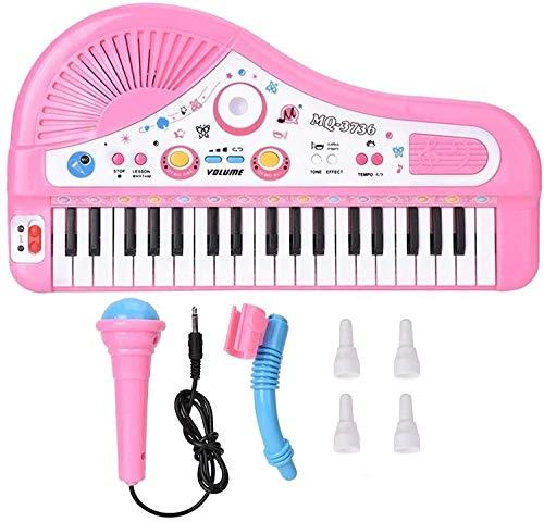 XINRUIBO 37 Instrumento de Piano eléctrico de Teclado, Rompecabezas para niños Piano de Aprendizaje Educativo temprano con micrófono Durante 3 años Piano Infantil (Color : Pink)