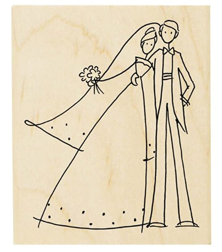 STAMPENDOUS Wood Mounted Rubber Stamp V, Happy Couple