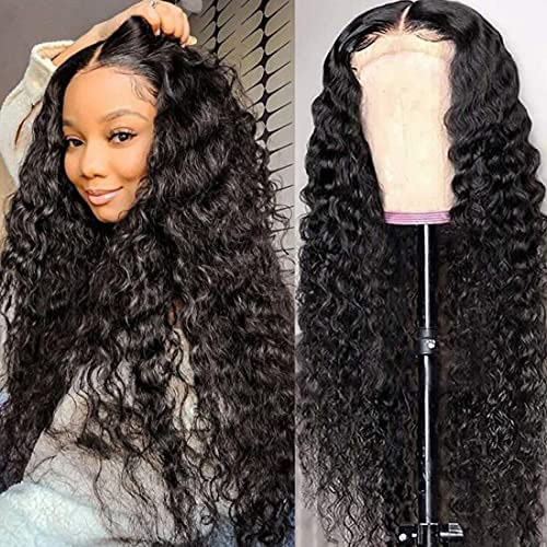 HD Lace Front Wigs Human Hair Deep Wave Human Hair Wigs For Black Women 13x4 Lace Frontal Wigs Pre Pluck HD Transparent Glueless Lace Wigs 180% Density Wet and Wavy Natural Black 24 Inch…