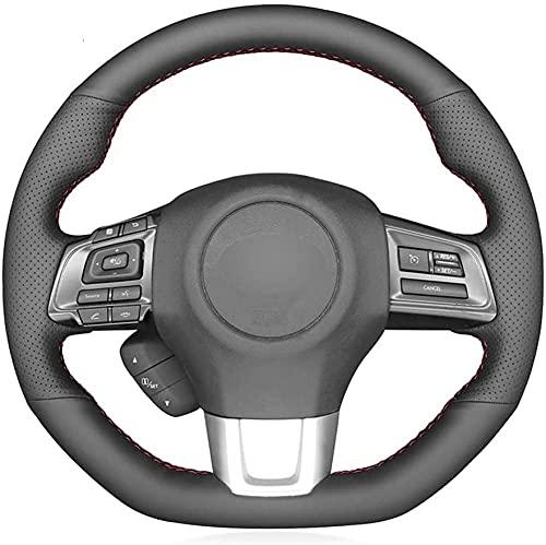 Black Leather Hand Sew Wrap Car Steering Wheel Cover ,for Subaru WRX (STI) 2015-2019 Levorg 2015-2018 2019-White_Thread