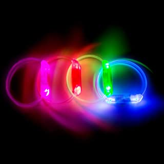 PROLOSO LED Light Up Bracelets Glow Wristbands Assorted Colors Set of 4 for Concerts, Festivals, Sports, Parties, Night Events