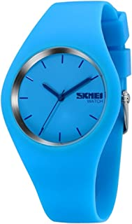 TONSHEN Simple Fashion Analog Quartz Watch Rubber Band Casual Style Wrist Watches for Women Girl 12 Colours (Light Blue)