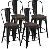 YAHEETECH 24inch Metal Dining Chairs Solid Fir Wooden Surface Furniture High Black Metal Indoor-Outdoor Counter Height Stool with Removable Back Modern Kitchen Dining Bar Chairs Rustic - Black