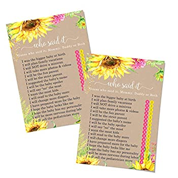 Sunflower Baby Shower Mommy Daddy Game  25 Pack  Guess Who Activity Cards – Country Flowers – Rustic Party Supplies - Reveal Yellow Pink