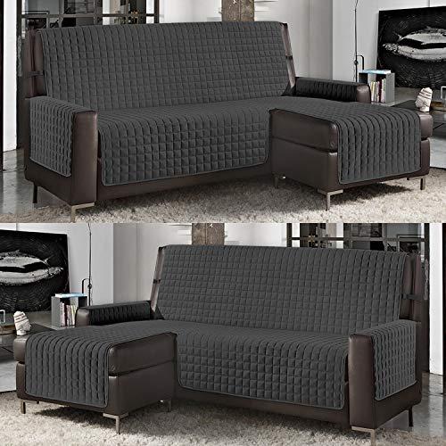 Banzaii Funda de Sofá Cubre Chaise Longue Acolchada Lisa 4 Plazas (290 cm) con Chaise Longue Izquierda/Derecha Gris Oscuro