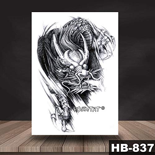 5 Unids Impermeable Etiqueta Engomada del Tatuaje Temporal de Color Negro patrón dragón Tatuaje Transferencia de Agua Cráneo Body Art Tattoo para Mujeres Hombres 5 Unids-