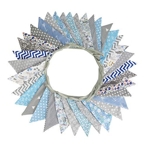 G2PLUS Süße Beidseitig Wimpel Girlande, 10M Bunting Wimpelkette Blau und Grau Stoff Stoffgirlande mit 36 STK Farbenfroh Wimpeln für Hochzeits Geburtstag Party