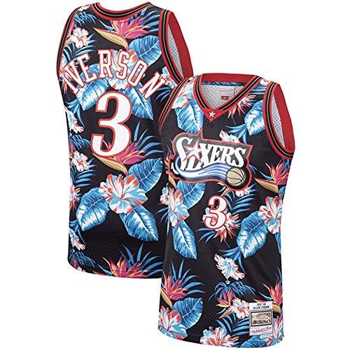 XSJY Männer NBA Basketball Jersey # 3 Allen Iverson Philadelphia 76Ers, Mesh-Basketball Swingman Jersey Für Männer Stadt Version,M:170~175cm/65~75kg