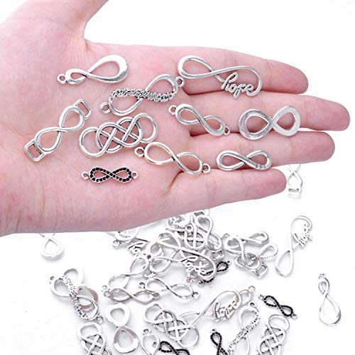 BronaGrand 50pcs Mixed Infinity Symbol Charms Pendants for Crafting, Jewelry Findings Making Accessory for DIY Necklace Bracelet