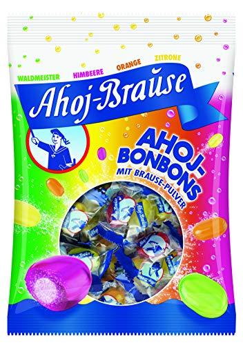 Ahoj-Brause Ahoj-Bonbons Beutel – Ahoj-Bonbons mit Brausefüllung - 4 verschiedene Geschmacksrichtungen: Himbeere, Orange, Zitrone und Waldmeister - 150 g