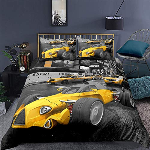 ACVMF Printed Duvet Cover Yellow Racing Car Bedding Set 3 pcs (1x Duvet Cover and 2 x Pillowcases) 100% Polyester Microfiber Quilt Cover Sets For adults children 78.74 x 78.74 inch