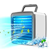 Portable Personal Air Conditioner Cooler, Office Silent Mini Evaporative Air Fan, USB Rechargeable Small Desktop Fan, 7 Colors LED Light, Home Bedroom Cooler Humidifier