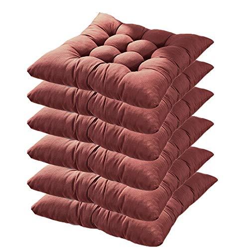 6er Set Stuhlkissen mit Bänder, 40x40x5cm, Sitzkissen für Stühle drinnen und draußen (Mehrere Farben zur Auswahl) (Braun)