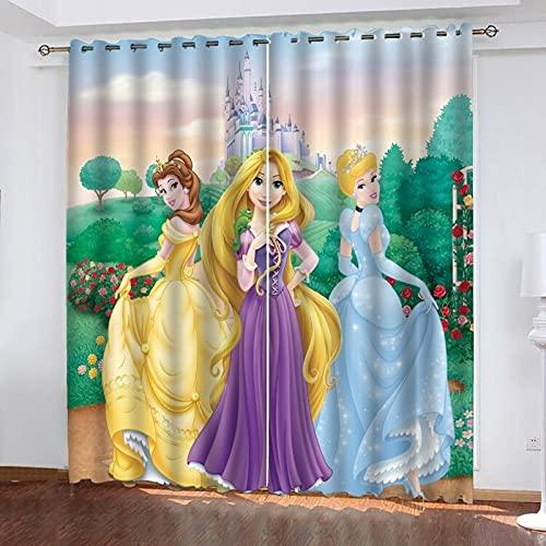 Bfrdollf Juego de 2 cortinas opacas para habitación de los niños, para niñas, princesas Disney Disney, reducción de ruido, cortinas opacas (6,183 x 160 x 160 cm (ancho x alto)