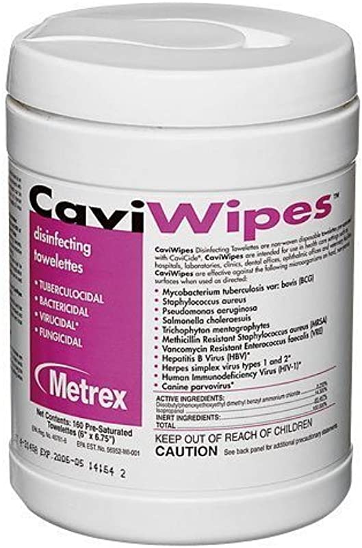 CaviWipes By Metrex Disinfecting Towelettes Large 160 Cannister Case Of 12