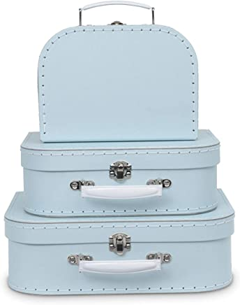 Jewelkeeper Paperboard Suitcases, Set of 3 – Nesting Storage Gift Boxes for Birthday Wedding Nursery Office Decoration Displays Toys Photos – Baby Blue Pastel Design