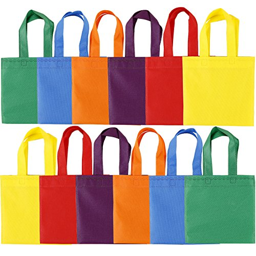 Maosifang 24 Pieces Party Favor Bags Gift Bags Tote Bags Non-Woven Treat Bags with Handles Christmas Day,6 Colors,8 x 8 Inches