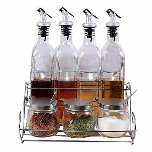 Lsopx Utensilios de cocina condimento de aceite de cristal olla de aceite vinagre de condimento a prueba de fugas conjunto salinidad agitador Tarro de especia sellada (Color : Clear)
