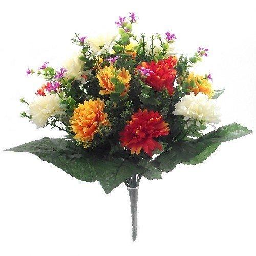 Permabloom Künstliche Blumen – 41 cm Stacheliges Chrysanthemen-Gemischtes Strauß, Orange/Gelb/Rot/Elfenbein