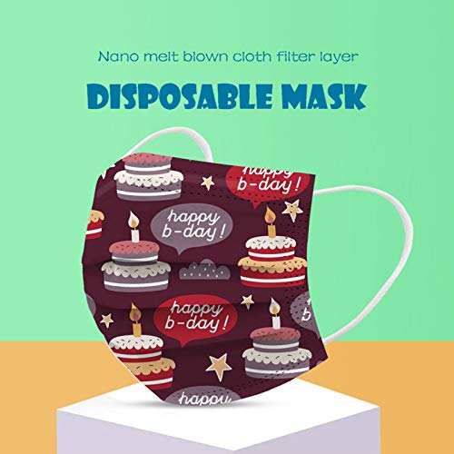 CawBing Birthday Decorations Disposablē_Face_Masks for Her Him 20PCS Happy Birthday Printed Soft Balaclava 3-ply Comfort Breathable Face_Coverings with Elastic Earloop Protection Bandana