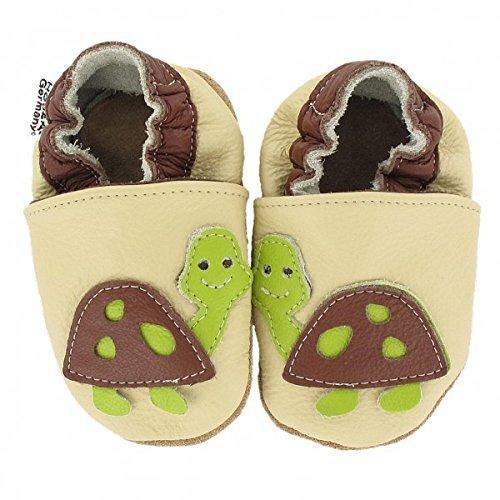 Krabbelschuhe Babyschuhe mit Tieren von HOBEA-Germany, Modell Schuhe:Schildkröte, Schuhgröße:22/23 (18-24 Monate)