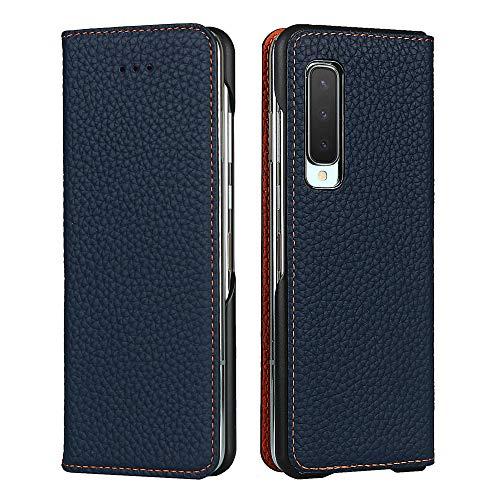 Galaxy Fold SCV44 ケース 手帳型 カバー Zouzt 牛革 本革レザー 本皮 財布型 カード収納 スタンド マグネット 耐衝撃 おしゃれ 6色 ダークブルー