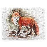 NCRJCZQL Puzzle da 500 Pezzi, Volpe Rossa Disegnata a Mano con pennellate a Coda folta Tod Mammal, Grande Opera d'Arte di Gioco di Puzzle per Famiglie per Adulti Adolescenti