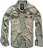 Brandit Hardee Camisa Denim Camiseta Hombre Camisa Vaquera - Gris Verde Oliva, S