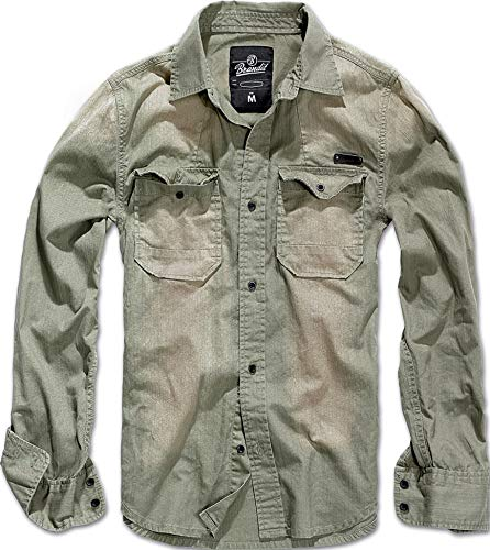 Brandit Hardee Hombre Camisa Vaquera Beige L, 100% algodón, Spray Bleach Optik Regular