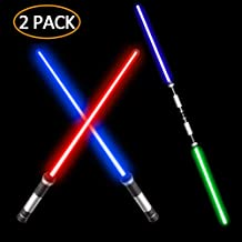 Laser Sword - VLSEEK Upgrade Light Up 2-in-1 7 Color Changing LED Light Up FX Dual Saber Sound (Motion Sensitive) for Galaxy War Fighters and Warriors, Stocking Ideal Kid Gift, Xmas Presents (2 Pack)