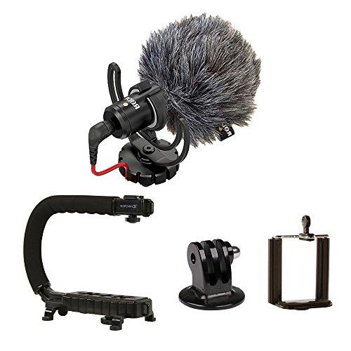 RØDE VideoMicro + CAM CADDIE Scorpion JR - Microfone compacto na câmera com suporte de choque de lira Ryocote + suporte manual