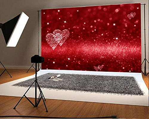 Laeacco 7x5FT Vinyl Backdrop Red Glitter Background Photography Red Hearts Space Love Theme Shiny...
