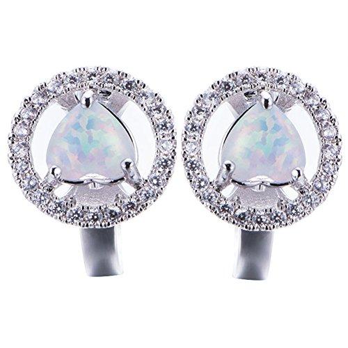 OMZBM Erstellt Opal Edelstein Hoop Ohrringe Einzigartige Sterling Silber Hypoallergen Kleine Ohrringe Schmuck Frauen Mädchen,White
