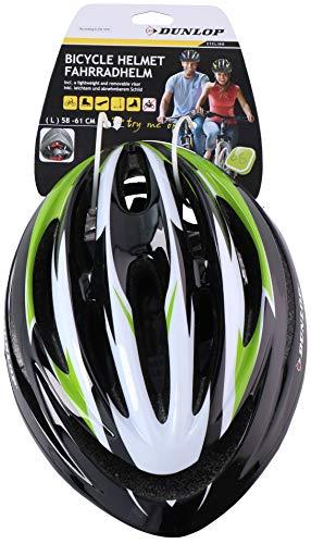 Shine® Unisex Fahrradhelm, verstellbar, leicht, für Damen und Herren, Grün mit Visier (L))