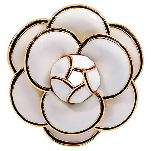 Lopbinte Enamel Camellia Flowers Channel Jewelry Brooches Broaches for Women Sweater Dress Lapel Pins Accessaries for Clothes White