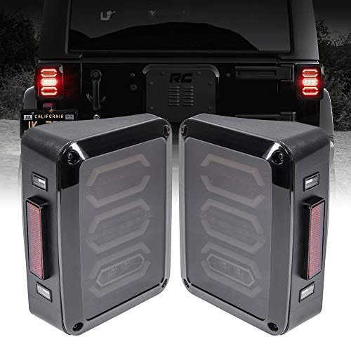LED Rear Tail Light Replacement for Jeep Wrangler [Hexagon Design] [Smoke Lens] [Plug n Play] - LED Brake Light Compatible with Jeep Wrangler JK JKU Unlimited Accessories 2007-2018