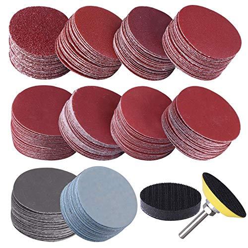 203Pcs 2 inch 1/4 Inch Sandpaper Suit Alumina Sponge Sanding Discs Set Metal Shank 80 to 3000 Grit Sanding Discs Home Tools 01