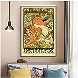 JLFDHR Pintura de Carteles e Impresiones de Lienzo Vintage imágenes artísticas de Pared para la decoración de la Sala de Estar del hogar-60x90cmx1 sin Marco