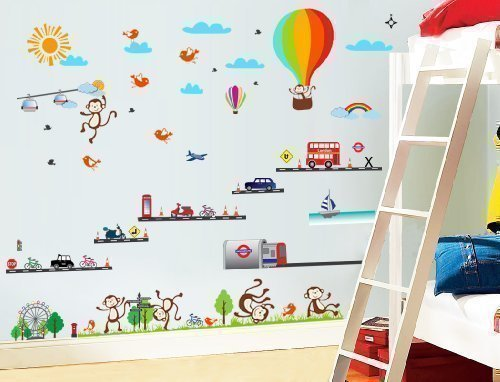 Walplus Muurstickers Londen Transport Ballon Aap Bus Verwijderbare Zelfklevende muurschilderingen Vinyl Home Decoration DIY Woonkamer Kantoor Décor Wallpaper Kids Room Cadeau, Meerkleurig