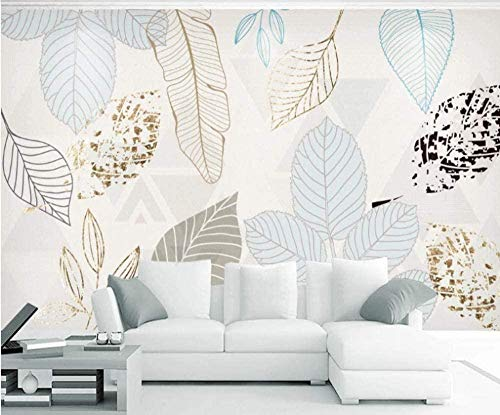 Mural moderno minimalista pintado a mano hojas abstracto retro pintura decorativa nórdica papel tapiz-250X175cm