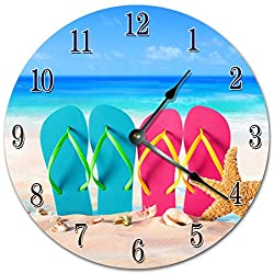 Sugar Vine Art Eye Cathing Beach FlIP Flops Silent Non Ticking Round Battery Operated Handmade Hanging Large10.5 Inch Wall Clock for Bedroom Office Cottage Decoration