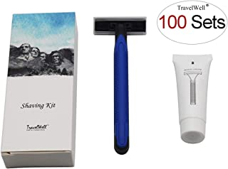 TRAVELWELL Individually Wrapped Hotel Toiletries Amenities Smooth Shave Disposable Razor and Cream(10g) Boxed 100 Sets per Case Landscape Series