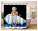 YZL Duschvorhang für Badezimmer mit 12 Haken, Polyestergewebe Maschinenwaschbare wasserdichte Duschvorhänge gewichtet Magnet-weißes Hochzeitskleid Marilyn Monroe (Size : 180x200cm)