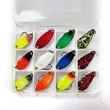 FitTrek Cucharillas de Pesca Kit - 12 PCS Cucharillas de Trucha Set - Mini Spinning Cucharilla de Pesca 3cm 3g - Colores múltiples Cebos de Pesca Artificiales de Metal
